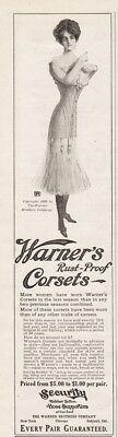 1909 Warner Bros Corsets Rust Proof Rubber Button Hose Supports Lingerie Ad