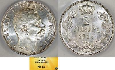 Serbia. Peter I (1903-1918). Silver 2 Dinars 1915. ANACS MS61 (coin alignment)