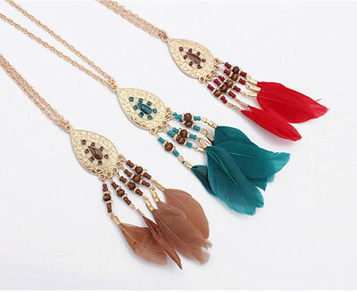 Women Feather Tassels Pendant Long Necklace Sweater Chain High Grade Jewelry