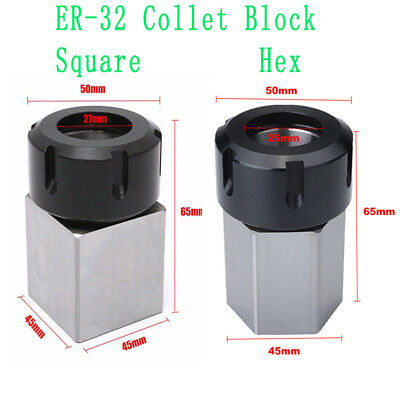 ER-32 Hex/Square Collet Chuck Block Holder for CNC Lathe Engraving Machine Tool