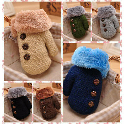Winter Thick Kids Baby Boy Girl Child Thick Fur Gloves Mittens With Neck String