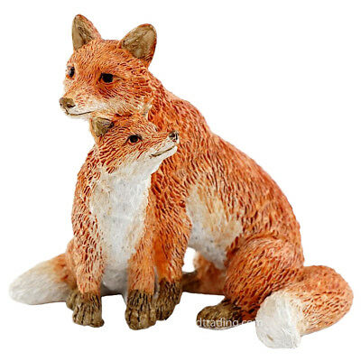 "Mini Red Fox Mother With Baby Kit Figurine 2"" High New In Box!"