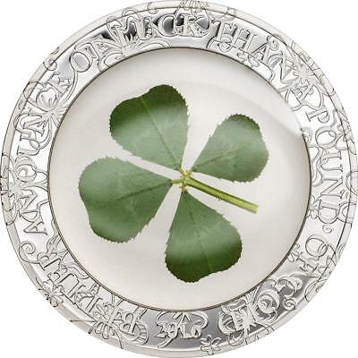 Palau 2016 $5 Ounce of Luck 1 Oz Silver Proof Coin with real Four Leaf Clover