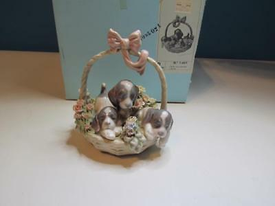 "New Lladro #1441 Brillo  ""A Litter of Love"" 3 Puppies in a Basket Box Included!"