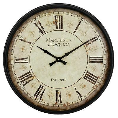 20 in Antique Round Wall Clock Roman Numeral Display Classic Home Indoor Decor