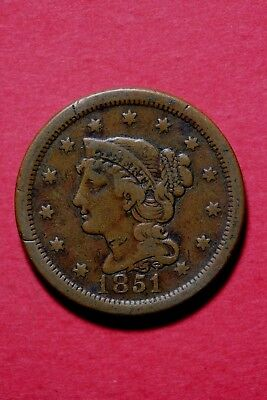 1851 Braided Hair Large Cent Exact Coin Pictured Flat Rate Shipping Lot#1010#004