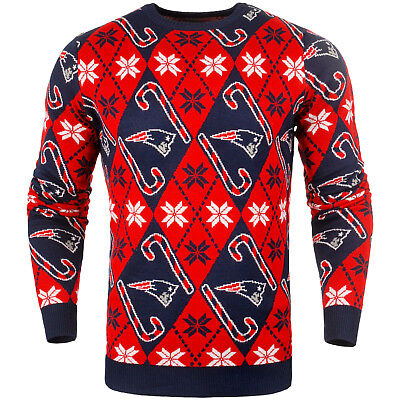NFL UGLY NEW ENGLAND PATRIOTS Sweater Pullover Christmas Candy Cane Football