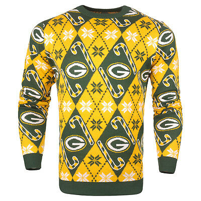 NFL UGLY GREEN BAY PACKERS Sweater Pullover Christmas Candy Cane Football