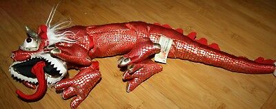 """20"""" Long Folkmanis Small Red Chinese Dragon Full Body Finger Hand Puppet"""