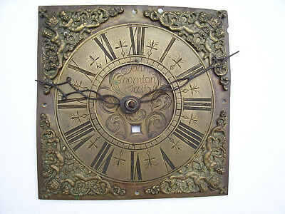 EARLY 18th CENTURY BRASS CLOCK DIAL SIGNED JOHN THORNTON OF SUDBURY