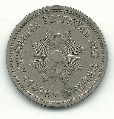A Very Nice High Grade 1936 Uruguay 2 Centesimos Coin-May371