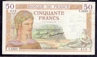 50 Francs Ceres From France 25.3.1937 XF