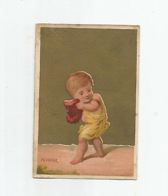 Victorian Trading Card, Fevrier, Child At Play