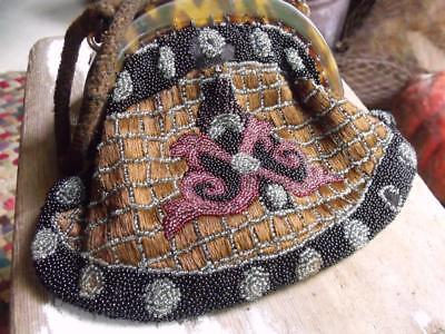 Lovely Antique Beaded Purse With Beveled Vanity Mirror Inside