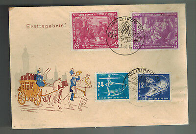 1950 East Germany DDR First Day Cover FDC Leipzig Fair Winter Sports