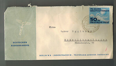 1949 Berlin East Germany DDR Cover to Switzerland DAHA UPU Stamp # 48