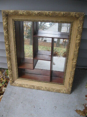 "Vintage Mirror Shadow Box Ornate 25"" X 22"" Mid Century"