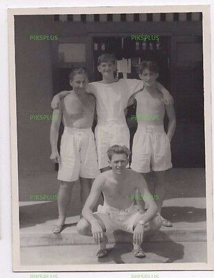 Old Photograph Shirtless Sailors In Shorts In Doorway Real Photo Vintage 1950S