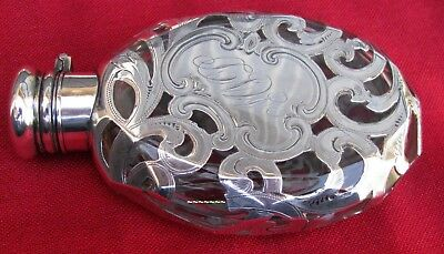 Antique American Unusual Cut Crystal Silver Engraved Pocket Flask By Whiting