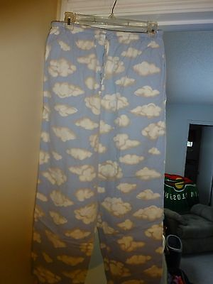 No Boundries Sleep Pants Ladies Size Small Blue w/clouds Elastic Waist Cotton