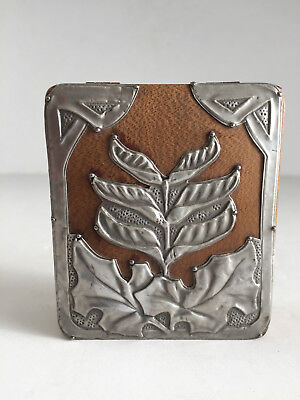 Antique French Art Nouveau Sterling Silver and Wood Stamp Box