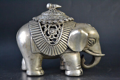 Collectible Decor Old Tibet Silver Elephant Theme Hollow Out Incense Burner big