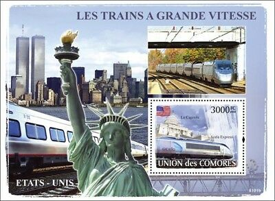 The HIGH SPEED TRAINS of USA (AMTRAK Acela Express) Stamp Sheet 2 (2008 Comoros)