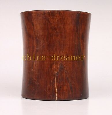 Carving High-Grade Solid Wood Collectable Pen Pot Old Decoration