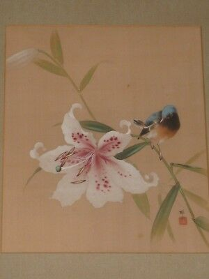 Signed Antique Japanese Oil Painting Japanese Lily With Bird