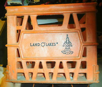 Vintage Land O' Lakes Thick Milk Crate ORANGE Plastic Dairy,American Indian logo