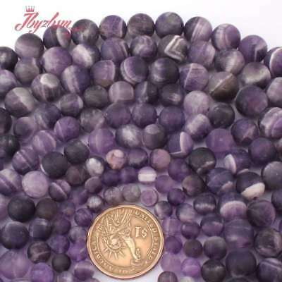 6-12mm Round Natural Matte Dream Lace  Amethyst Stone Beads Jewelry Making 15""