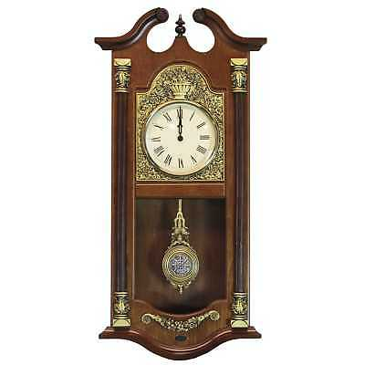 Large Traditional Walnut Wood Pendulum Wall Clock Home Indoor Decor Accessory