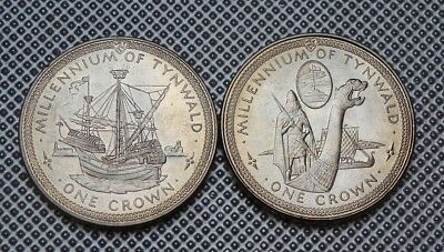 """1979  Isle Of Man  Crown Coin""""s  Millennium Of Tynwald"""