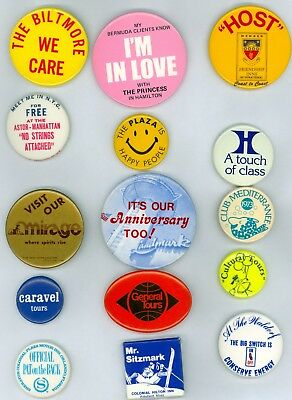 15 Vintage 1970s-80s New York Hotels Advertising Pinback Buttons Biltmore