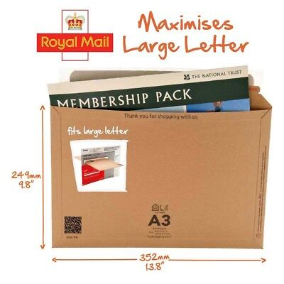 Lil A3 352 x 249 mm size Rigid Cardboard Book Mailer Envelope Max Large Letter