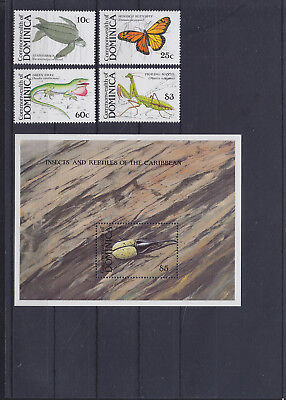 055960 Insekten Insects ... Dominica 1184-87 + Block 145 ** MNH Year 1988