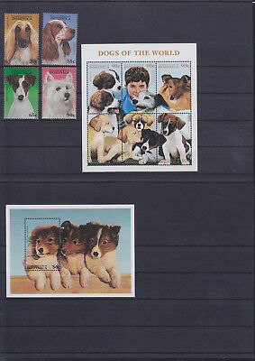 055979 Hunde Dogs Dominica 2305-14 + Block 329 ** MNH Year 1997