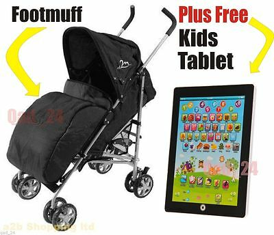 Pram Cosy Stroller Cover Footmuff Buggy Pushchair Black + Free Kids Tablet White
