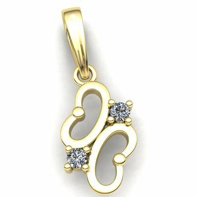 Genuine 0.4ct Round Cut Diamond Ladies 2 Stone Butterfly Pendant 10K Gold
