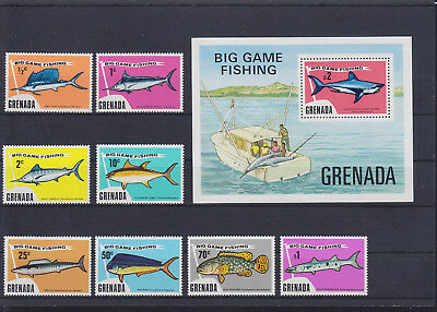 056044 Fische Fish Grenada 630-37 + Block 39 ** MNH Year 1975
