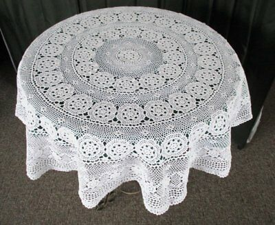 "VINTAGE ROUND TABLECLOTH HAND CROCHET - WHITE - 48"" dia."