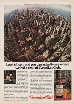 1978 New York City Skyline Twin Towers World Trade Center Canadian Club Photo Ad