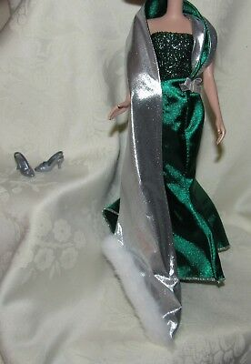 Barbie Holiday Green Silver Gown Dress Shoes Fashion Lot 4 Doll