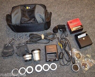 Sony camera camcorder bundle lot high def lenses filters case charger rings ABZD