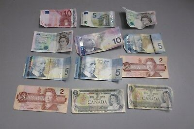 Lot of 12 Foreign Currency-Canadian-Euros-Pounds-Money
