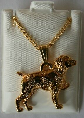 Brittany Spaniel Dog 24K Gold Plated Pewter Pendant Chain Necklace Set