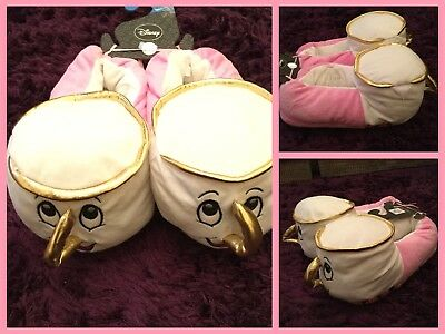 Primark BEAUTY & THE BEAST CHIP THE CUP 3D Ladies Slippers BNWT Free P&P
