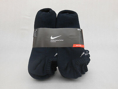 NIKE Performance Cotton Cushioned No Show Socks SX4459-001 Black 6 Pack