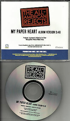 ALL AMERICAN REJECTS my paper Heart  RARE RADIO PROMO DJ CD Single 2003 MINT
