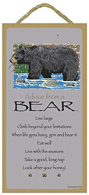 Advice From a BEAR 10 x 5 Wood SIGN Plaque USA Made